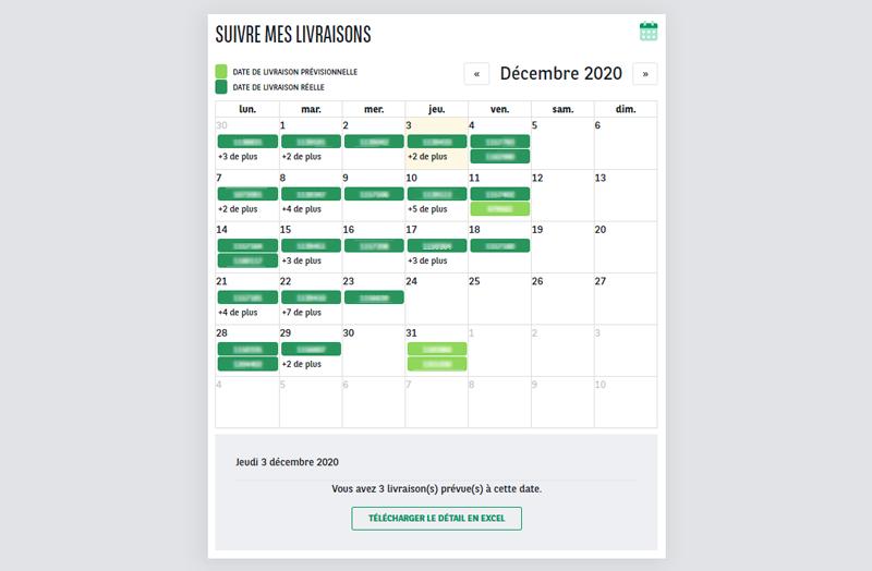 calendrier de livraison