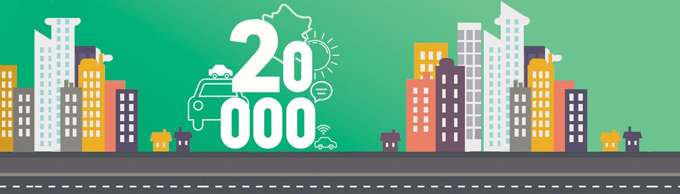 Cap de 20 000 véhicules loués