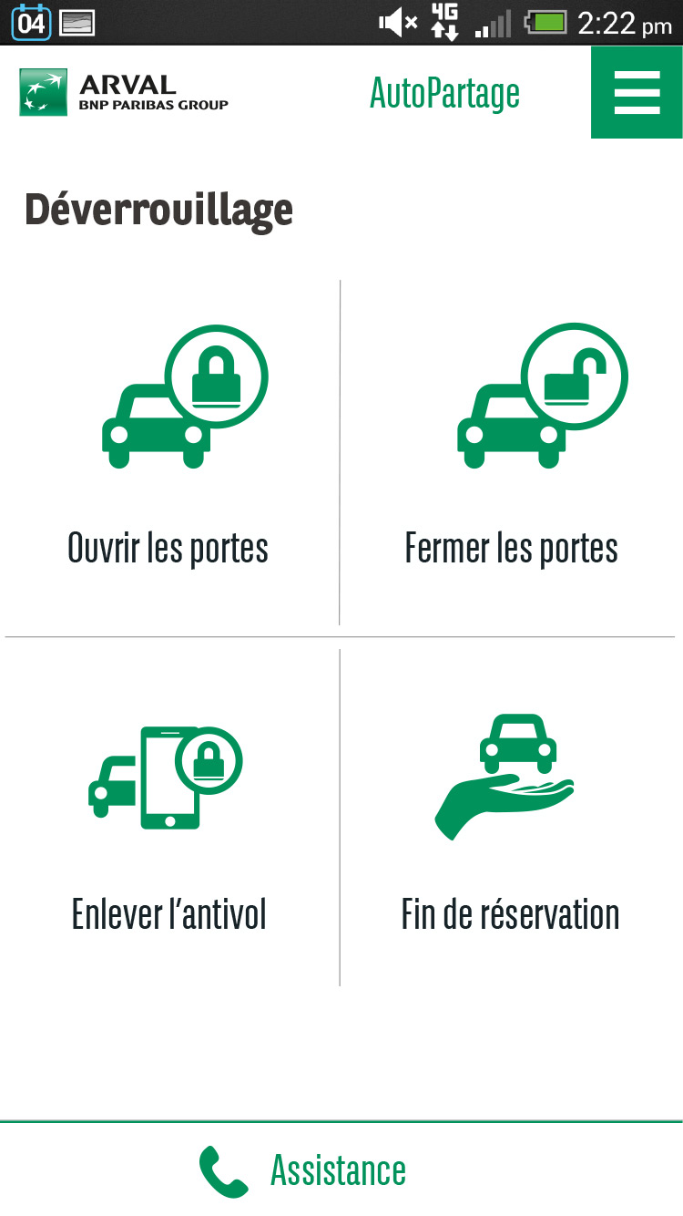 Application Autopartage - Déverrouillage