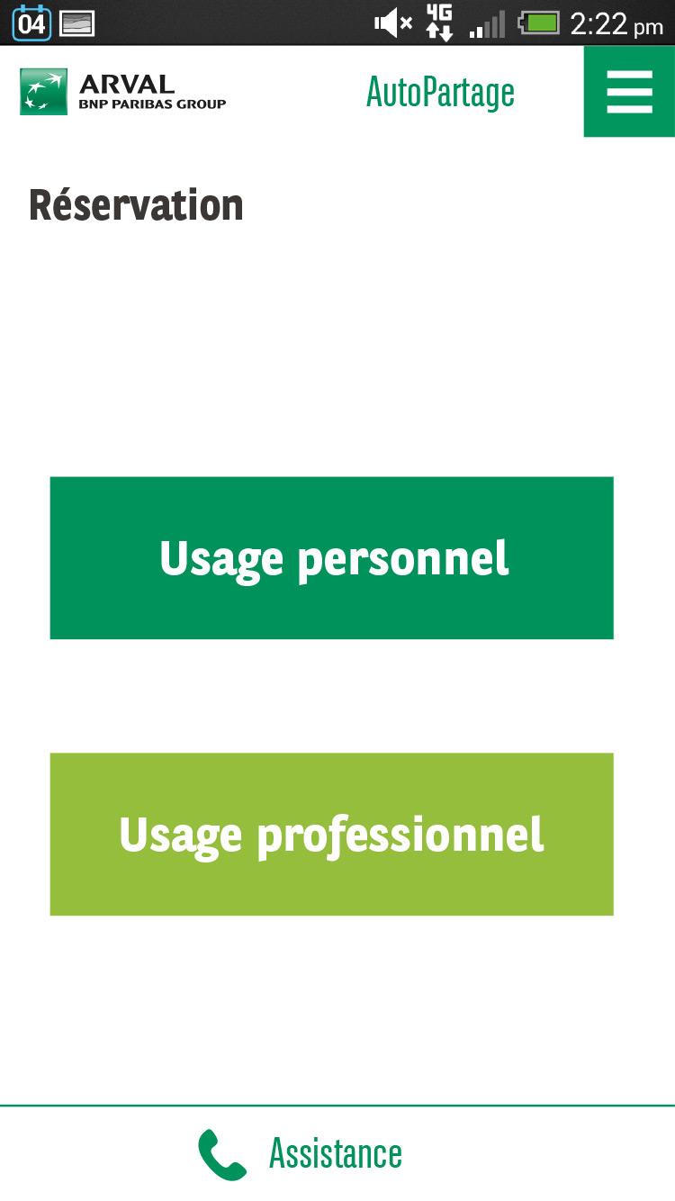 Application Autopartage - Formulaire de réservation