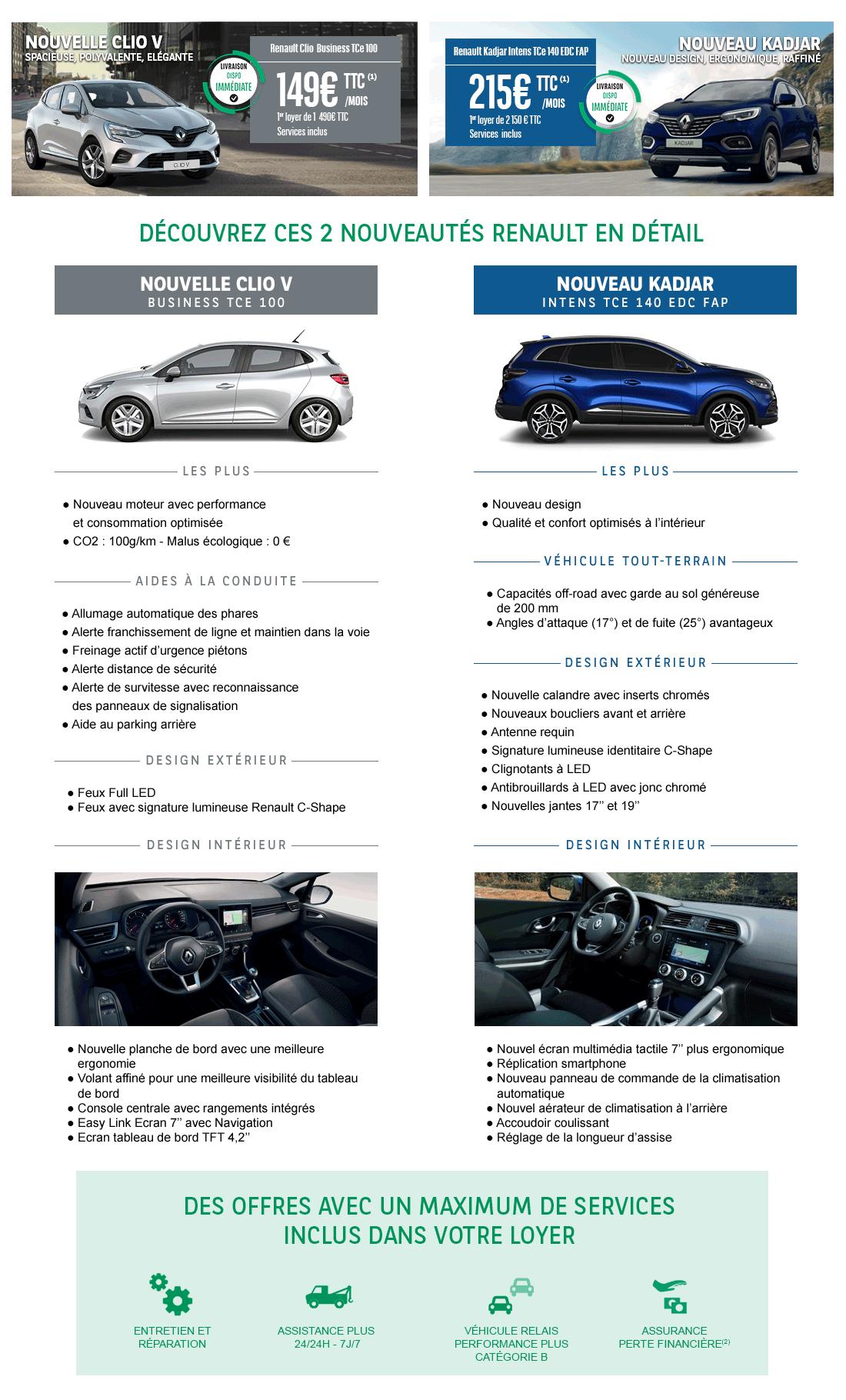 Offre LLD Renault Clio V et Kadjar