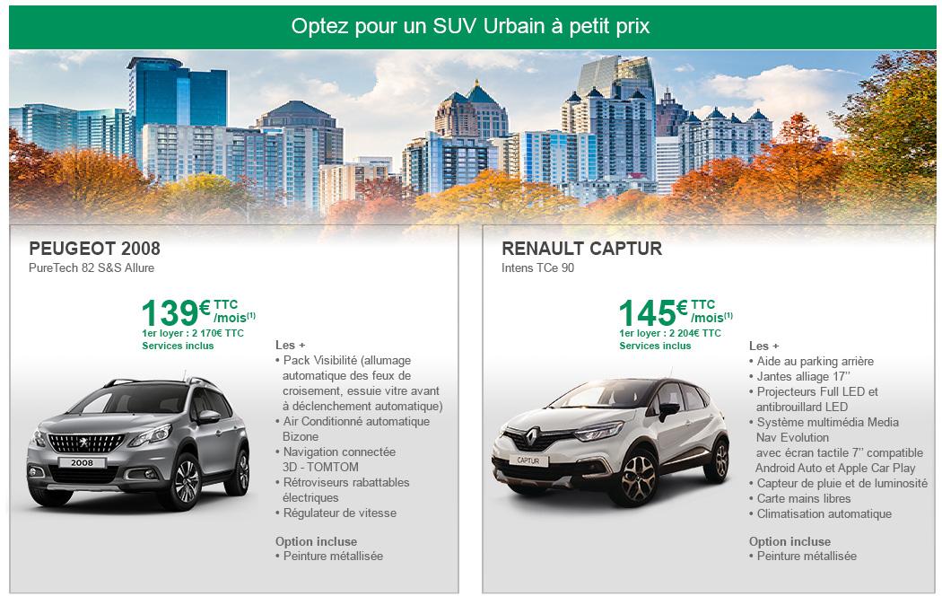 Nos offres LLD SUV urbains